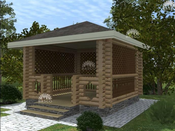 Квадратная садовая беседка — «Ажур»
