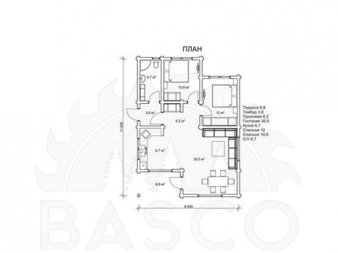 Одноэтажный коттедж — «Арселика»