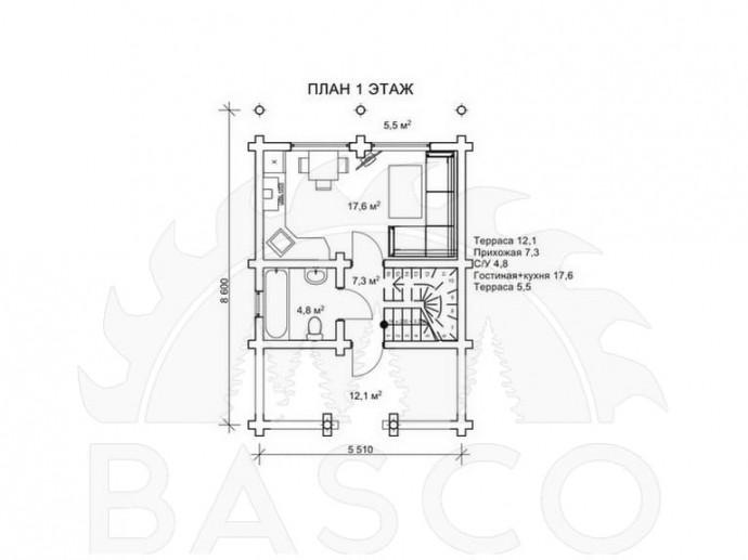 Двухэтажный коттедж из бруса — «Гордож»